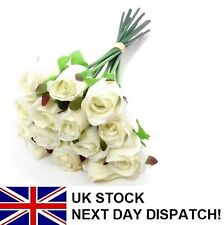 25cm Artificial Rose Silk Flowers 13 Head Floral Valentines Wedding WHITE IVORY