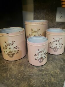 Vintage Set of 4 decoware tin storage canisters