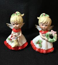 Vintage Homco Pair Of Christmas Angels , Porcelain Figurines 5402