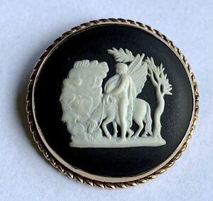 Rare Vintage Wedgewood 12K Gold Pendant/Brooch Pegasus Bellerophon