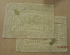 """NEW Set of 2 FABRIC Table CLOTH PLACEMATS 21"""" x 15"""" TAN & GREEN Fern Leaf Leaves"""