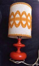Ancienne lampe de chevet orange et son abat jour années 70