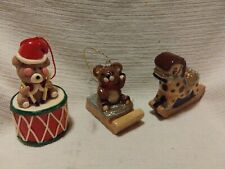 Lot of 3 Christmas toy Ornaments - Teddy Bear Rocking horse Gini's