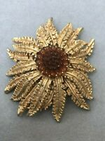 Sunflower Brooch Gold Tone Signed Sarah Coventry Flower Floral Vintage Jewellery