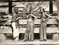 1870 Photo-Three Indonesian Batak Warriors-with Spears and Swords