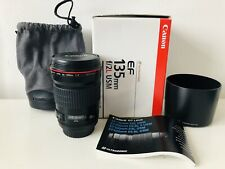 Canon EF F/2 L 135mm USM Prime Fixed Length Lens In Box Hood Bag Ex Cond.
