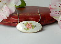 Antique Guilloche Enamel Sterling Silver Necklace & Chain