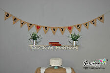 Best Day Ever Hessian Rustic Bunting Pink Heart Burlap Banner Wedding Photo Flag
