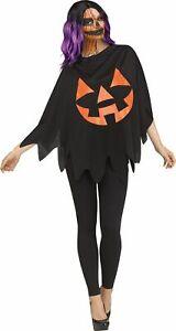 Black Jack O Lantern Pumpkin Poncho Womens Costume Accessory NEW