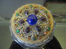 Antique Jeweled Gold Ormolu Filigree Perfume Vanity Powder Jar Heisey Glass!