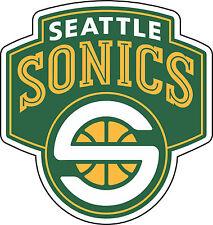 """Seattle SuperSonics baloncesto de la NBA Pegatina Pared Decoración Grandes Vinilo Calcomanía 9.5""""x10"""""""