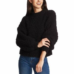 1 STATE NEW Women's Black Poodle Texture Pullover Mock Neck Sweater Top XL TEDO
