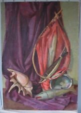 Vintage 1930? Pacific Northwest Oil Painting Still Life Fish Salmon Decoy  Shell