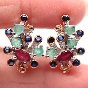 NATURAL 4 X 6 mm. RED RUBY, EMERALD & SAPPHIRE 925 STERLING SILVER EARRINGS
