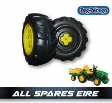 JOHN DEERE GROUND FORCE TRACTOR 12 VOLT PEG PEREGO REPLACEMENT REAR WHEELS TYRES