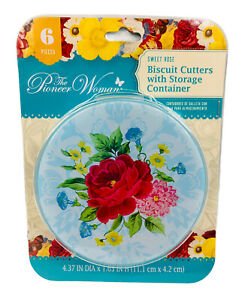 Pioneer Woman Kitchen Sweet Rose 5 Piece Biscuit Cutters Storage Container  NEW