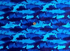 New listing * Last * Fat Eighth David Textiles Camo Sharks Camouflage Shades Of Blue Fabric
