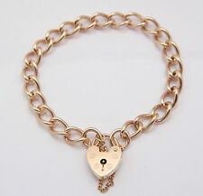 "9CARAT 9CT YELLOW GOLD CHARM BRACELET PADLOCK STYLE 190mm 7,1/2"" 15.6 GRAMS"