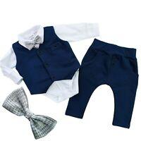 Boys Elegant 4 Pcs SET Waistcoat Trousers Shirt Bow Special Occasions Birthday