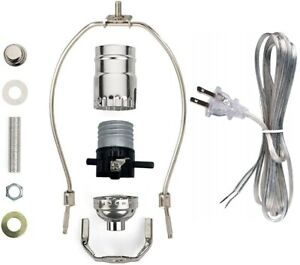 Silver Finish Make-A-Lamp Kit With All Parts & Instructions for DIY Lamp Repair