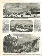 Chemin de Fer Amiens à Boulogne Gare d'Ailly-sur-Somme Pont Etaples GRAVURE 1848