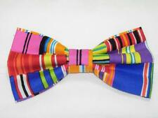 (1) PRE-TIED BOW TIE - BROKEN LINES - RED, BLUE, GREEN, ORANGE, YELLOW & PINK