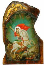 Handmade Wooden Greek Orthodox Aged Icon Painting Canvas of Saint George M77