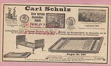 BERLIN, Werbung 1919, Carl Schulz Eisen-Möbel-Fabrik Draht-Netz-Matratzen Betten