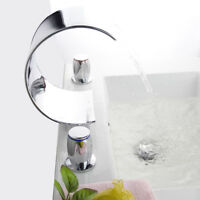 Bathroom 3 PCs Waterfall Tub Faucet 2 Handle Basin Vanity Mixer Sink Brass Taps