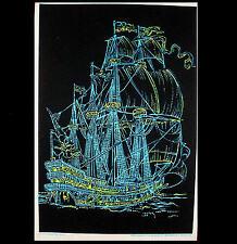 """1972 VINTAGE BLACKLIGHT POSTER BEAUTIFUL SHIP SAILBOAT """"PHANTOM SHIP"""" PIN-UP"""