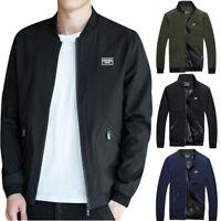 Men Zipper Casual Business Jacket Fight Bomber Coat Oversize Baseball Outwear AU