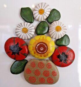 Hand painted rocks, stones, pebbles. Wild Flowers bouquet fridge magnets puzzle.