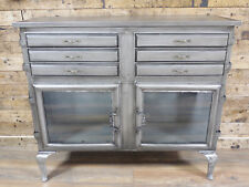 Silver Industrial Storage Cabinet 6 Drawer 2 Cupboard Sideboard Chest Table Unit