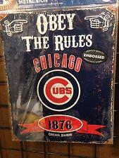 CHICAGO CUBS FAN PARKING ONLY METAL NOVELTY DECORATIVE PARKING SIGN