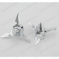 Chrome Spun Blade Spinning Front Axle Cap Nut Cover For Harley 29.5MM Softail
