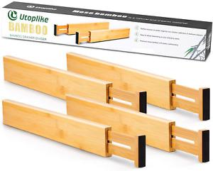 Utoplike 4pcs Bamboo Drawer Dividers 31.1cm-43.8cm, Adjustable Drawer Organiser,