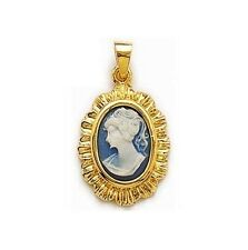 NOUVEAU PENDENTIF joli Camée Bleu en Plaqué OR neuf