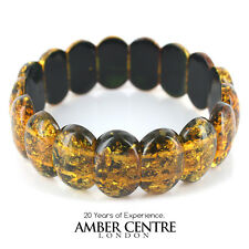 Classic Genuine German Forest Green Amber Bracelet- W084 and RRP£280!!!