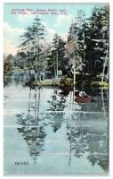 Early 1900s Solitude Bay, Moose River, Old Forge, Adirondack Mtns, NY Postcard