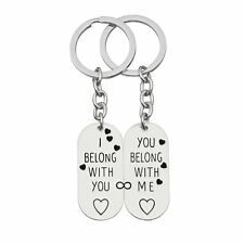 "2pcs Couple Lover Infinity Key Chain Ring Set ""I Belong With U,You Belong With"