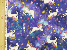 Kokka Unicorn Design Japanese Fabric / Double Gauze Navy - 110cm x 50cm