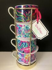 NEW Lilly Pulitzer Assorted 4-Piece Cappuccino Coffee Cup Mug Set With Rack NEW