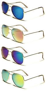 Mirrored Sunglasses Classic Gold Frames Pilot Top Gun Fashion Eyewear Full UV400
