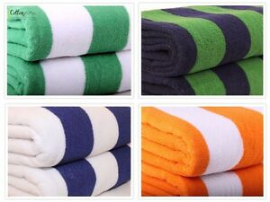 BEACH / BATH POOL TOWEL -  STRIPED 100% EGYPTIAN COTTON - ORANGE/BLUE/GREEN