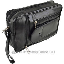 NEW Gents Black LEATHER Handy Wrist Travel Pouch MANBAG by Prime Hide Utility