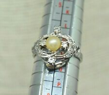Vintage Sterling Silver ring with a faux pearl and CZ design Size M #P814