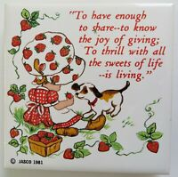 Vintage Jasco Tile Trivet Coaster Little Girl with Puppy and Strawberries