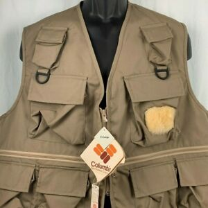 Vintage 80s Columbia Deschutes Vest XL 10 Pocket Fly Fishing Hunting Deadstock