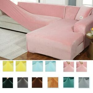Solid Color Corner Sofa Covers Room Elastic Spandex Slipcovers L Shape  Buy 2pc