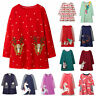 Christmas Clothes Toddler Kids Girls Long Sleeve Santa Party Casual Tunic Dress